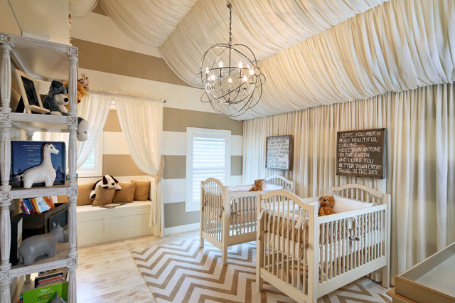 white and beige chevron wall in kids room