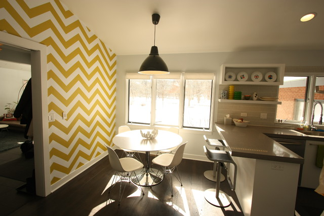 white and yellow chevron wall