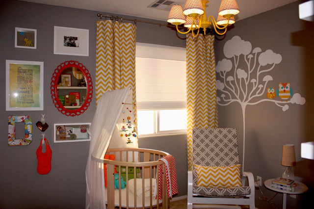 white and yellow kids room chevron curtains