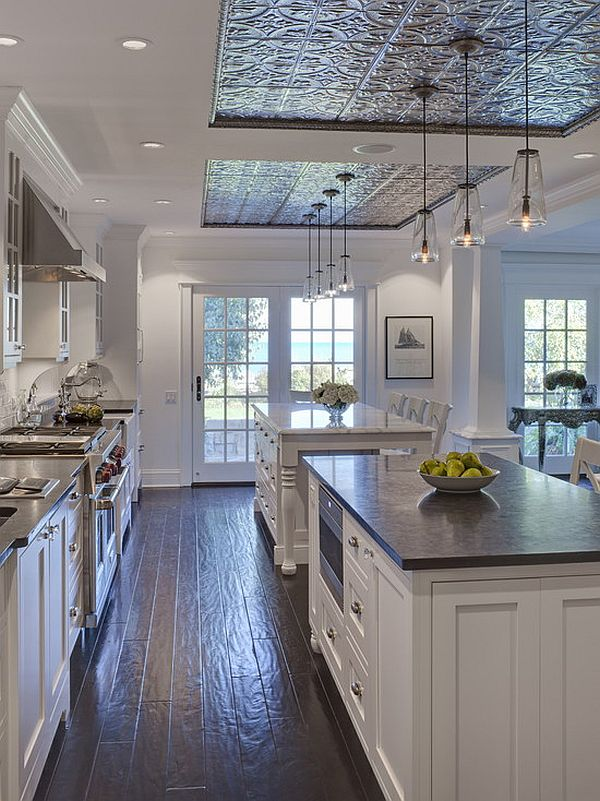 white traditional his and hers kitchen