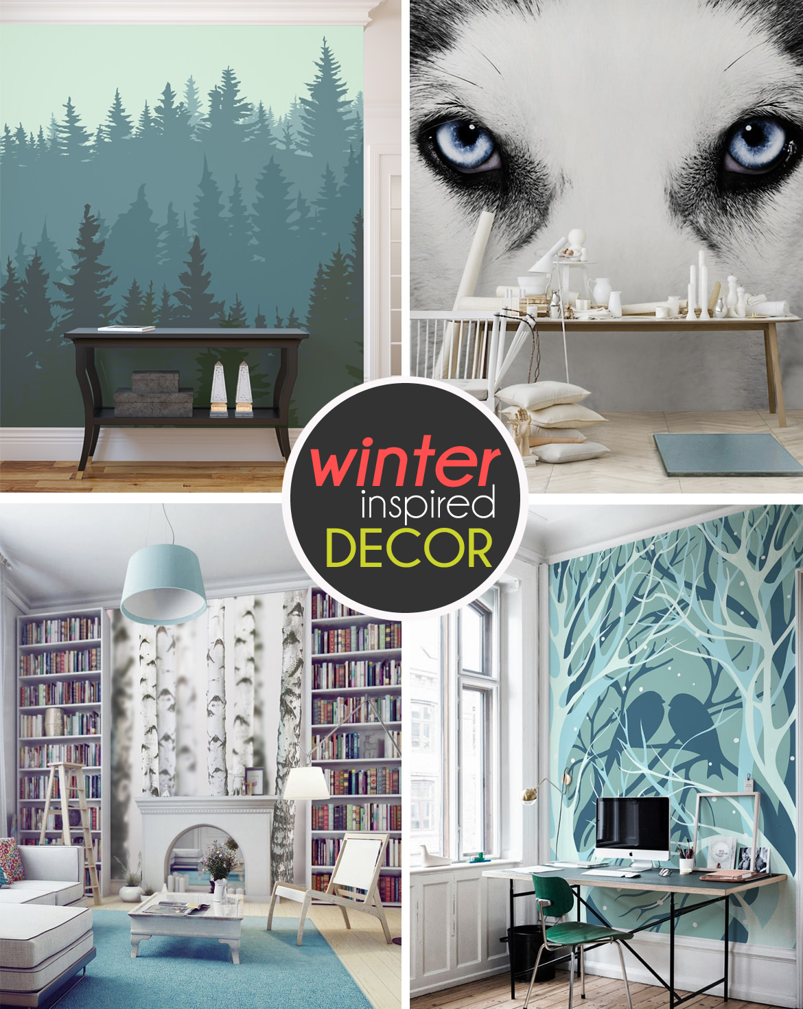 wintery wall murals