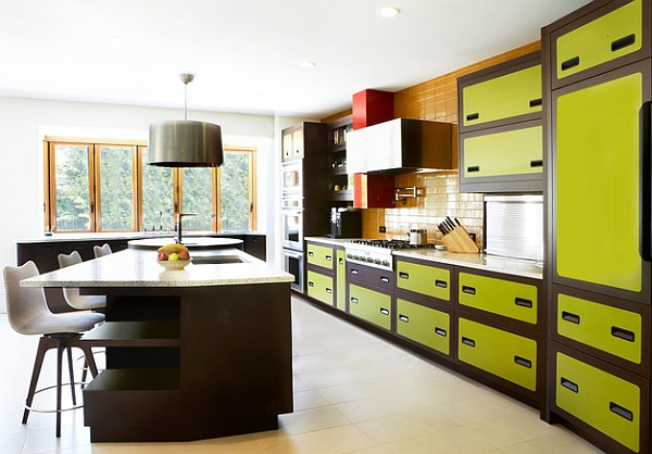 70s inspired kitchen in attractive apple green