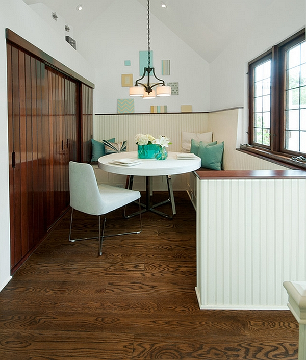 A cozy dining space tuckew away beautifully