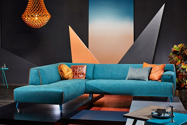 A hint of turquoise with orange accents for your living room