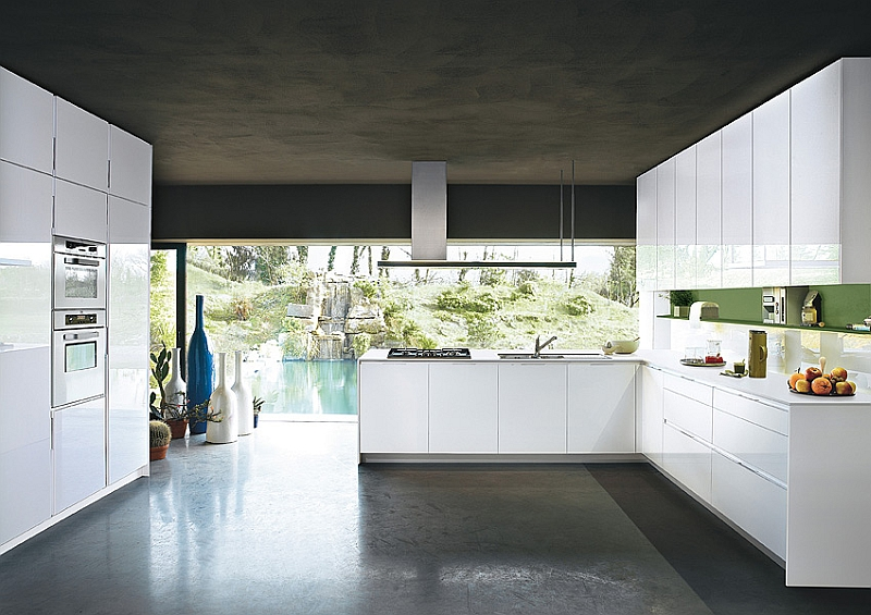 Contemporary italian kitchen offers functional storage for Sleek modern kitchen cabinets