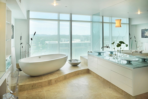 A standalone tub becomes an instant focal point in the bathroom