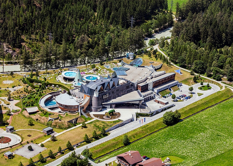 Aerial view of the lavish hotel Dramatic Austrian Resort Astonishes With Opulence Draped In Alpine Magic!