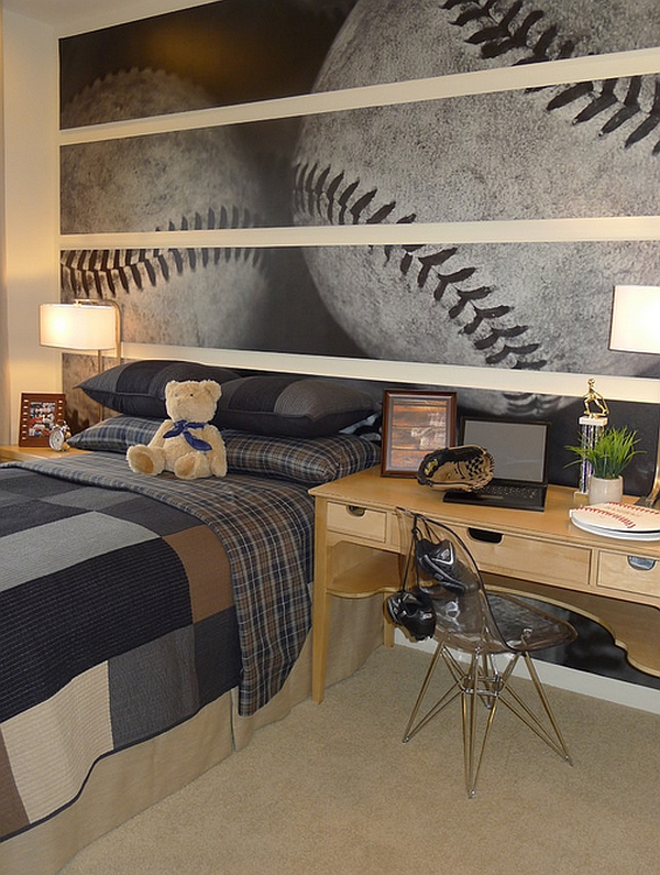 View In Gallery Amazing Basball Themed Wall Mural That Looks Cool Even Adult Bedrooms