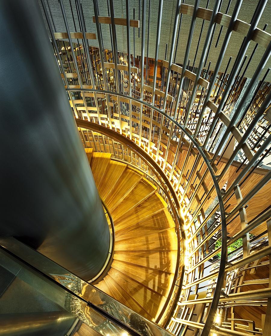 Amazing spiral staircase illuminated perfectly
