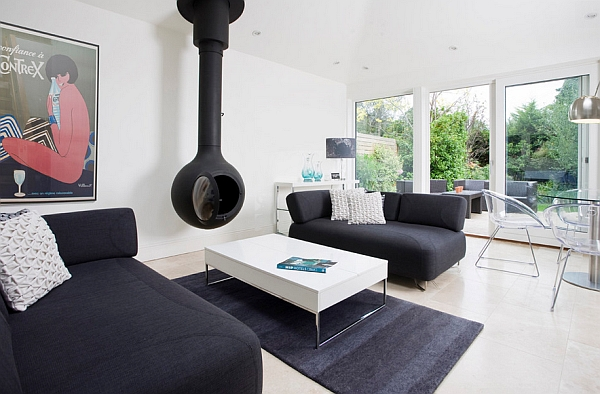 An Orb-style fireplace is both cool and fashionable
