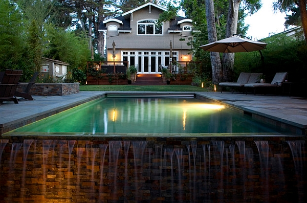 An overflowing pool also creates a cool waterfall visual