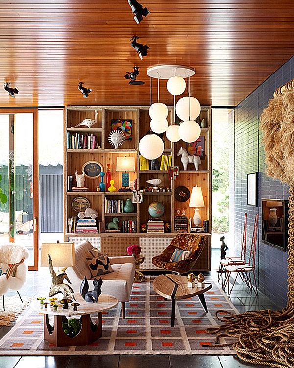 Artfully arranged bookshelf