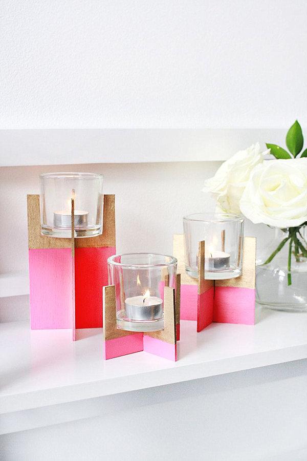 Balsa wood candle holder