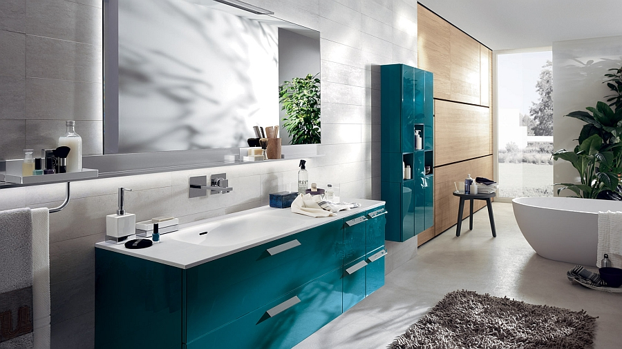 Baltic Blue cabinets for the modern bathroom Exquisite Modern Bathroom Brings Home Sophisticated Minimalism