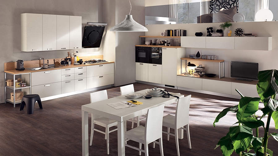 Bamboo laminate for kitchen counters gives an organic appeal Sleek Modern Kitchen Looks Like A Posh Contemporary Office!