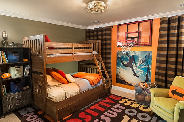 Basketball themed kids' bedroom with bunk beds