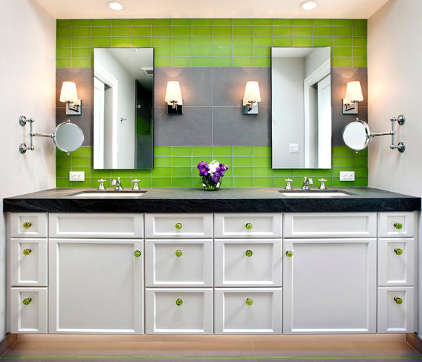 Bathroom cabinets with colorful hardware
