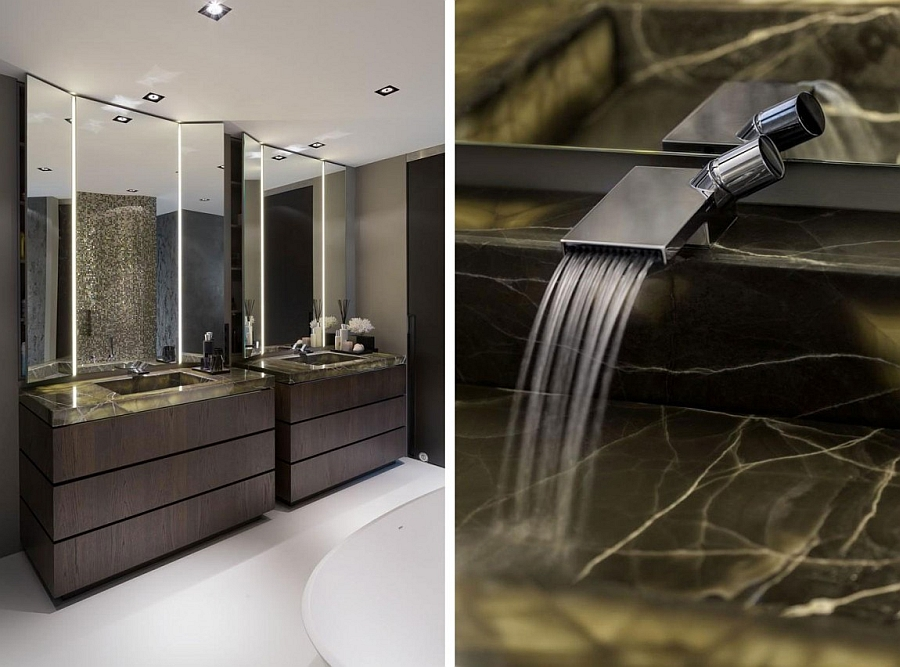 Bathroom with twin lit sinks in black onyx and spa like ambiance