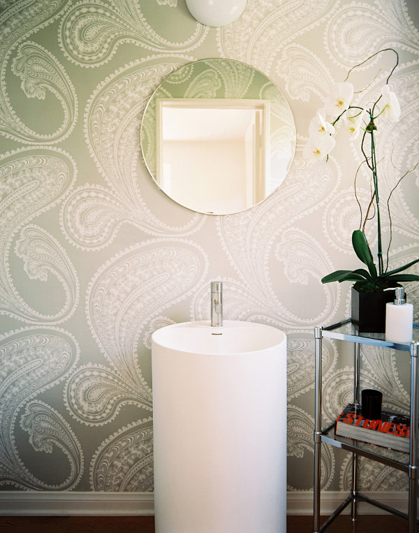 Beautiful orchid in a wallpapered bathroom