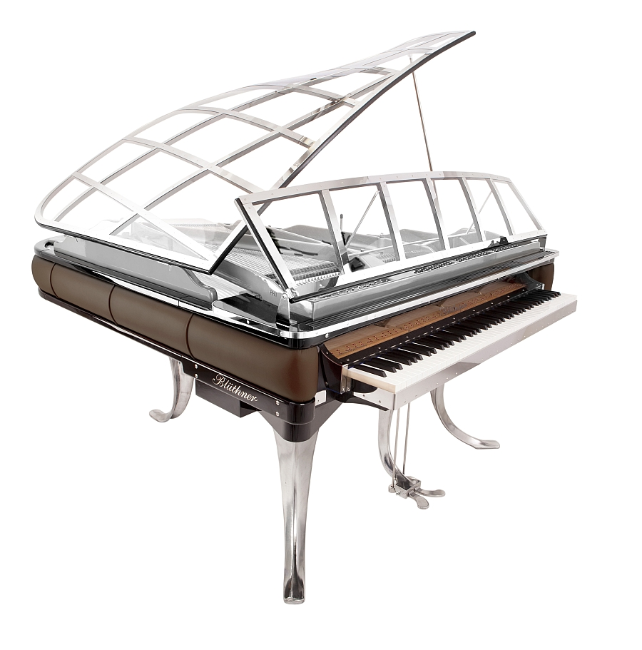 Beautiful piano in Espressoleather and bight chrome