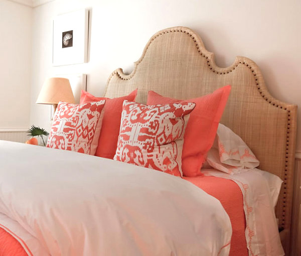 Bedroom featuring coral and sand tones