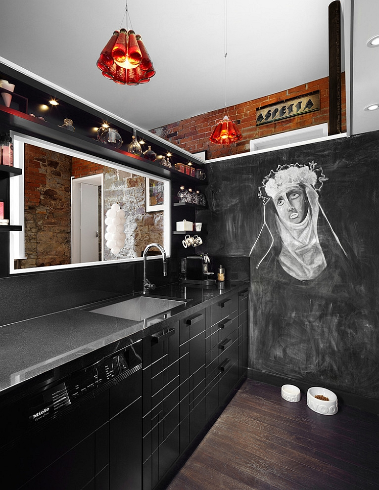 Black modern kitchen with interesting design