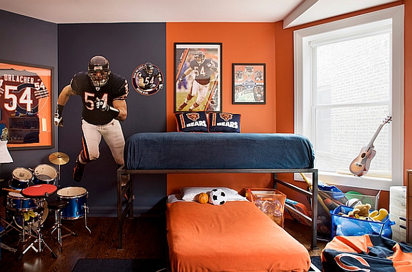 Blue and orange make a bold statement in the room