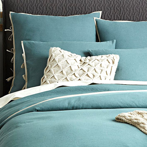 Blue linen bedding