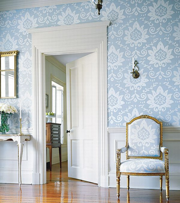 Blue wallpapered room French Country Interior Design Ideas