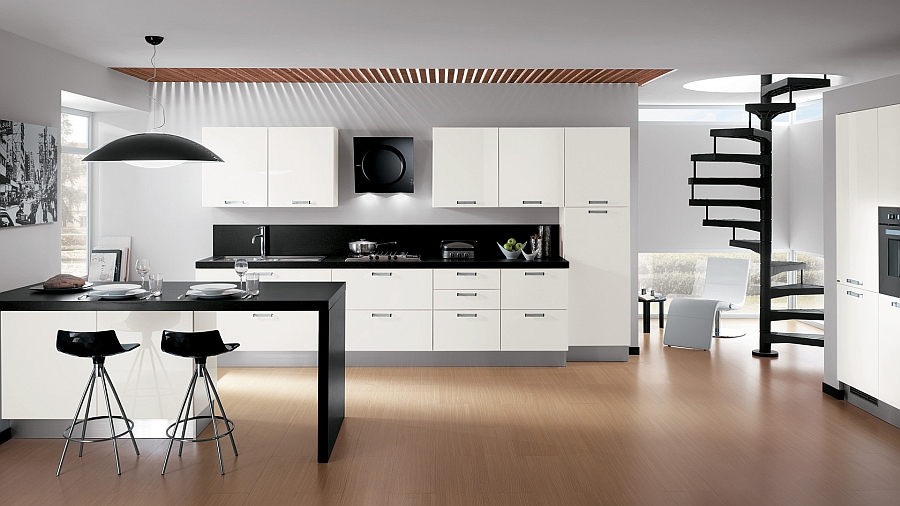 Bold contemporary kitchen in blacka nd white