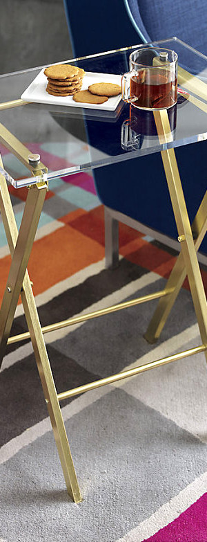 Brass and acrylic folding table