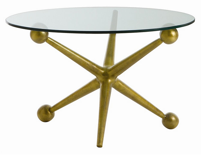 Brass and glass cocktail table