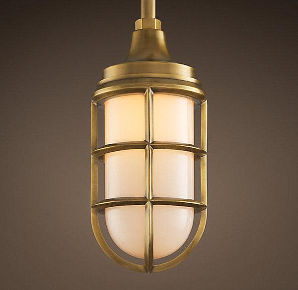 Brass and milk glass pendant