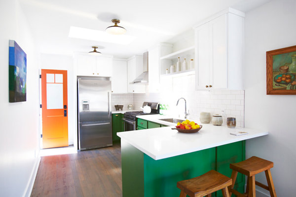 Bright green cabinetry