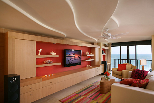 View In Gallery Bright Red Accent Wall In A Warm Toned Living Room