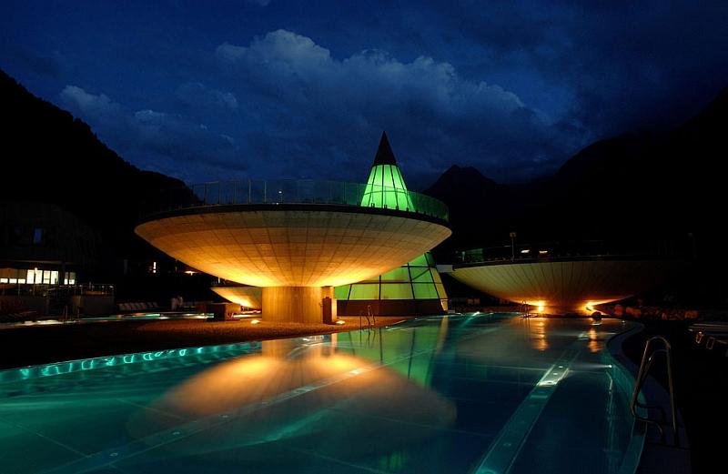 Brilliant pools illuminated at night
