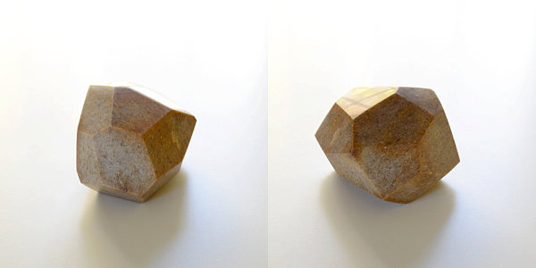 Brown marble geometric sculpture