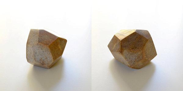 Brown marble geometric sculpture
