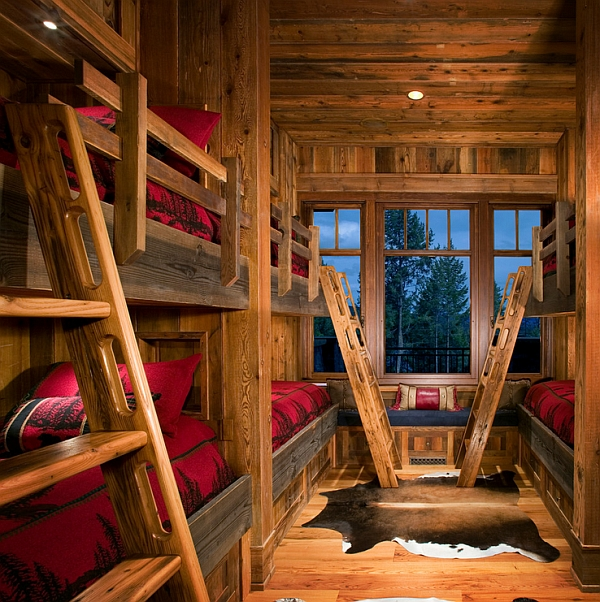 Bring home some inviting warmth with the winter cabin style for Log cabin style bunk beds