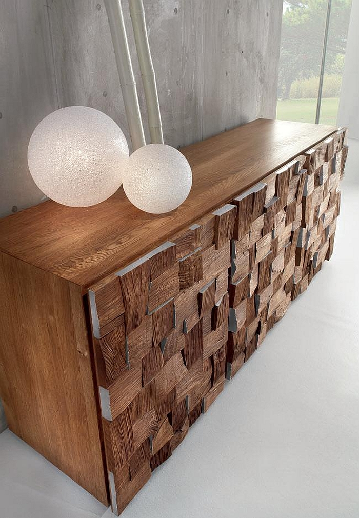 Cabinet with geometric wood designs
