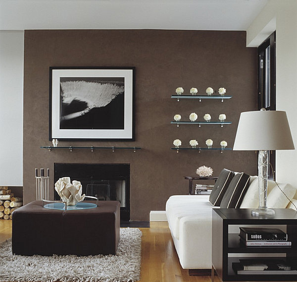 Chocolate brown accent wall 5 Easy Living Room Makeover Ideas