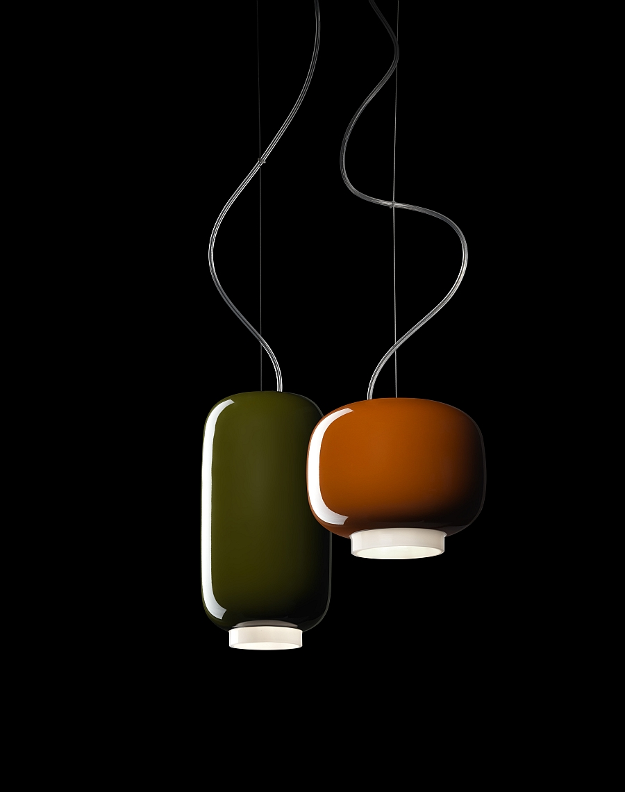 Chouchin Mini from Foscarini in its two earthy shades