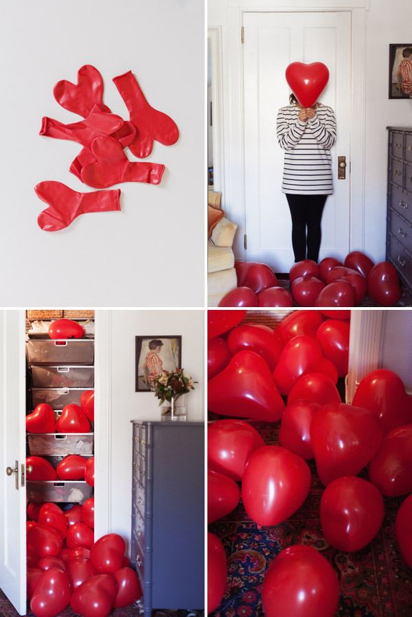 Closet full of heart balloons