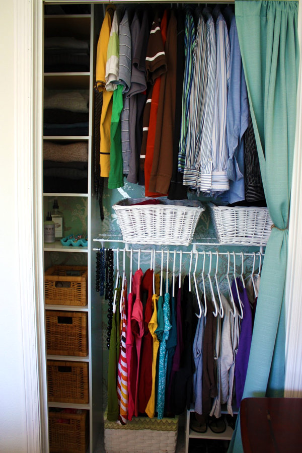 Closet shelves and baskets