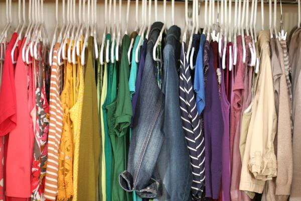 Clothes grouped by color