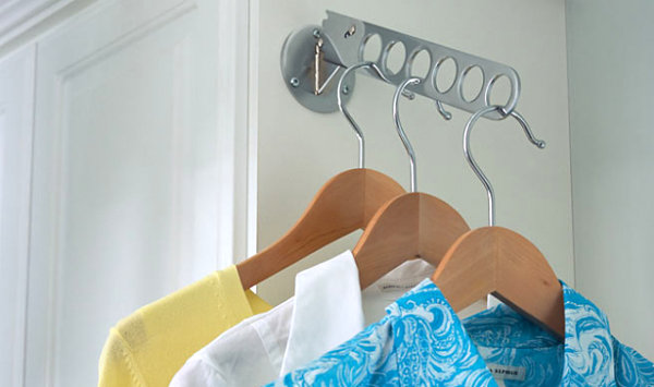 Clothes hanging space in a laundry room