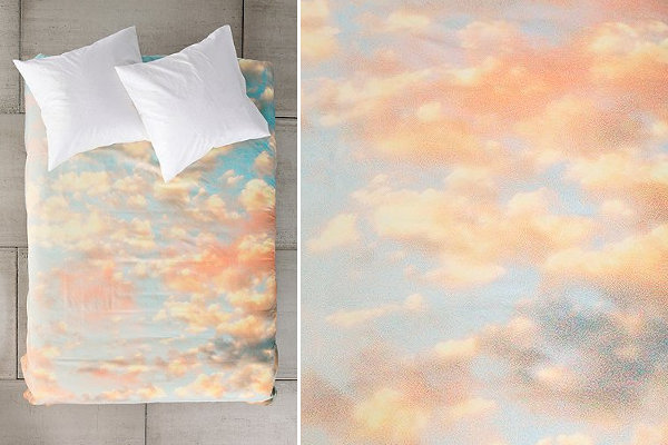 Cloud-print duvet cover