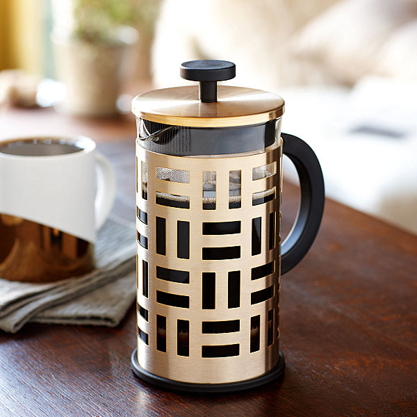 Coffee press with brass-tone stainless steel
