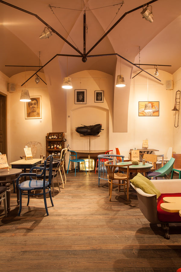 budget ceiling ideas - Eclectic Coffee Shop Design in the Heart of Transylvania