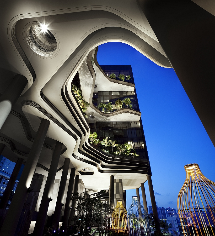 Colorful architectural enclosures inside the hotel